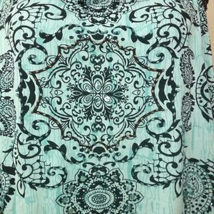 XXL Beaded Boho Tank Top Crochet Sleeveless Blue